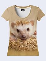 Женская футболка с коротким рукавом, с оригинальным рисунком Ёжик. Размеры 42-50.