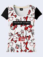 Оригинальная женская футболка Звёзды моды с классным 3D-рисунком. Короткий рукав.
