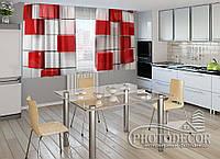 """ФотоШторы для кухни """"Красный куб"""" 1,5м*2,5м (2 половинки по 1,25м), тесьма"""