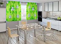 """ФотоШторы для кухни """"3d клевер листья"""" 2,0м*2,9м (2 половинки по 1,45м), тесьма"""