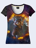 Современная женская футболка Rocket and baby Groot с оригинальным рисунком. Новинка женских футболок.