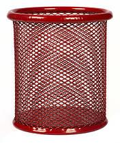 Стакан для ручек сетка,красный h=10 см.