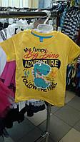 Футболка летняя для мальчика с динозавром желтая