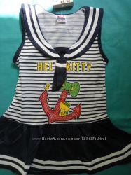Платье летнее на девочку Морячка на 2- 3 года Хлопок
