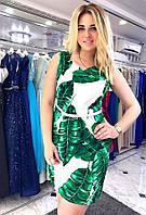 """Платье """"Листья - Тропики """" с поясом в комплекте."""