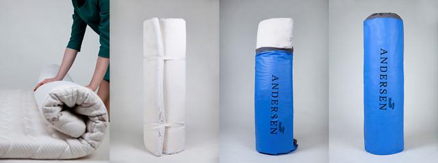ТОП матрац з пам'яттю Andersen ― ідеальний варіант для використання в малогабаритних квартирах – легко скручується в рулон та займає небагато місця завдяки стрічкам-фіксаторам та сумці для зберігання, яка додатково ще оберігає матрац від потрапляння пилу