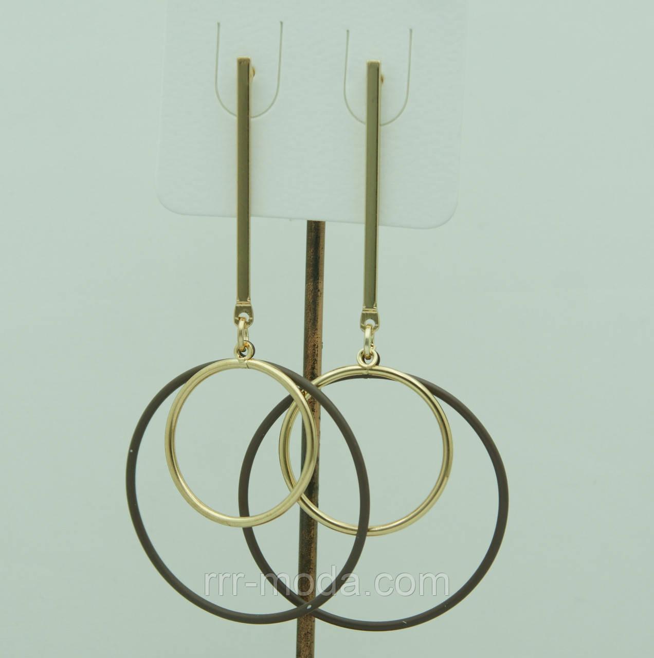 Необычные серьги кольца, серьги с коричневыми кольцами 3068