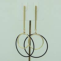 Необычные серьги кольца, серёжки с чёрными кольцами 3069