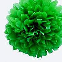 Бумажный помпон для праздника, 25 см. зеленый