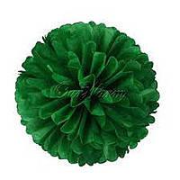 Бумажный помпон для праздника, 25 см. темно зеленый