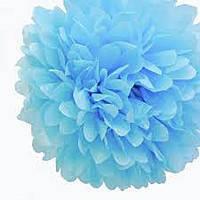 Бумажный помпон для праздника, 25 см.голубой