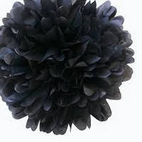 Бумажный помпон для праздника, 25 см. черный