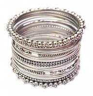 Комплект браслетов из 20 колец латунный белый (7 см)
