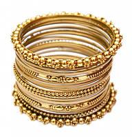 Комплект браслетов из 20 колец латунный жёлтый (7 см)