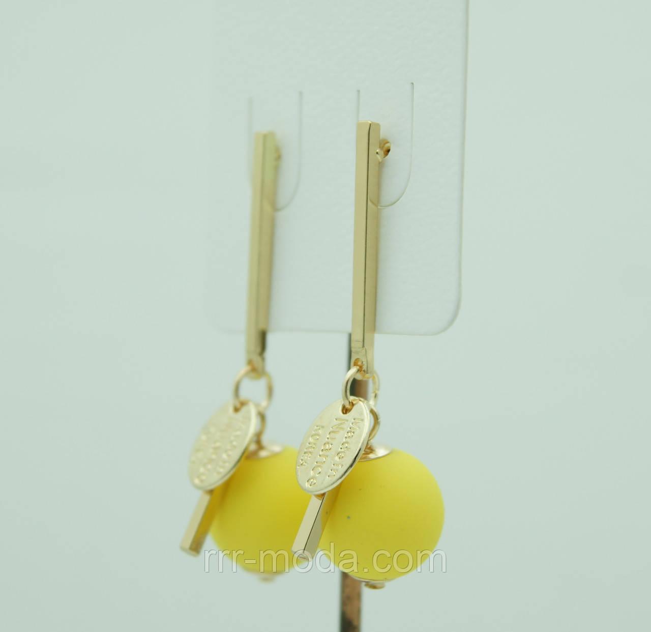 Бижутерия KOREA, матовые сережки гвоздики с жёлтыми шариками 3076