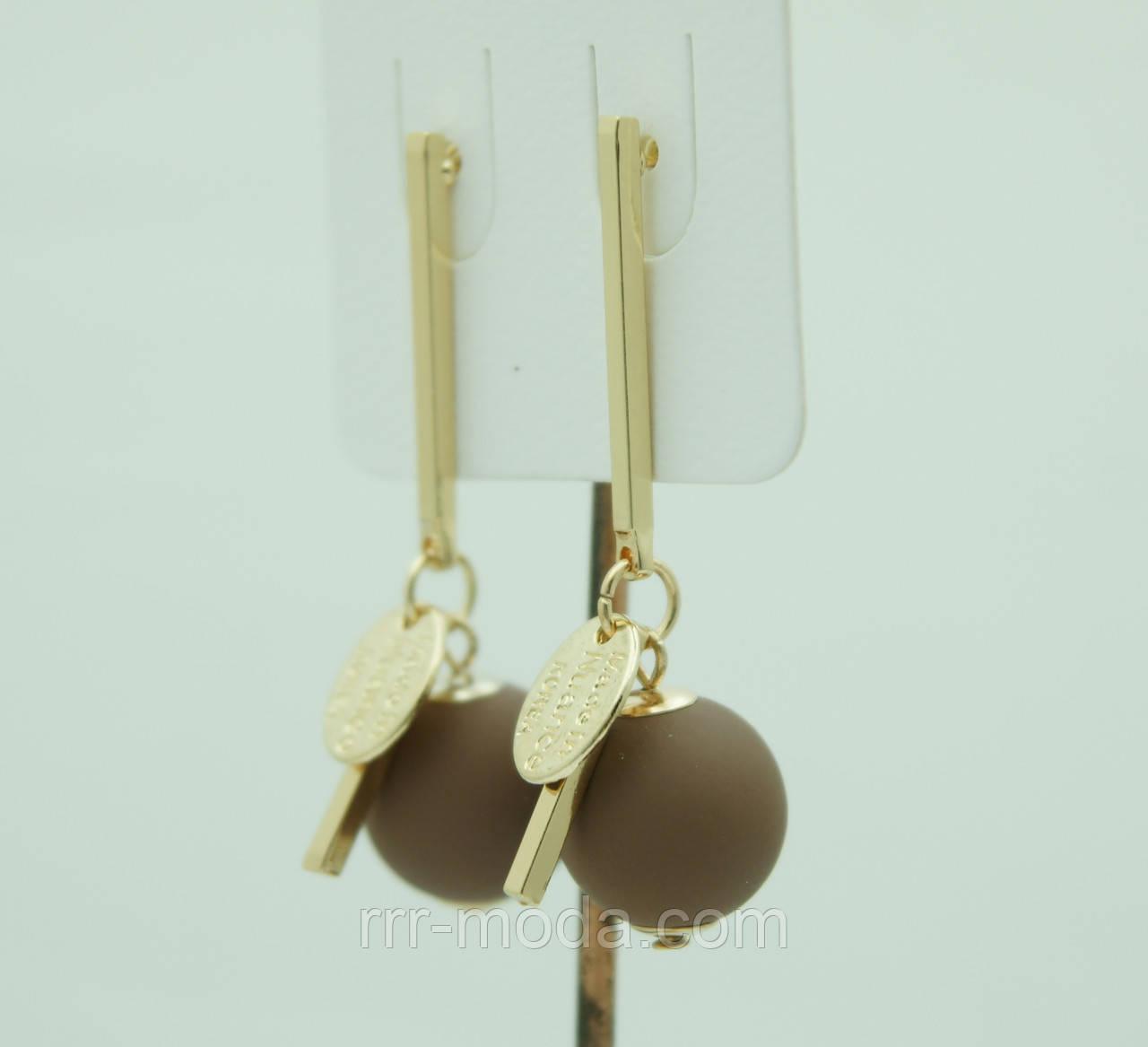 Бижутерия из KOREA, матовые сережки гвоздики с  шариками 3077