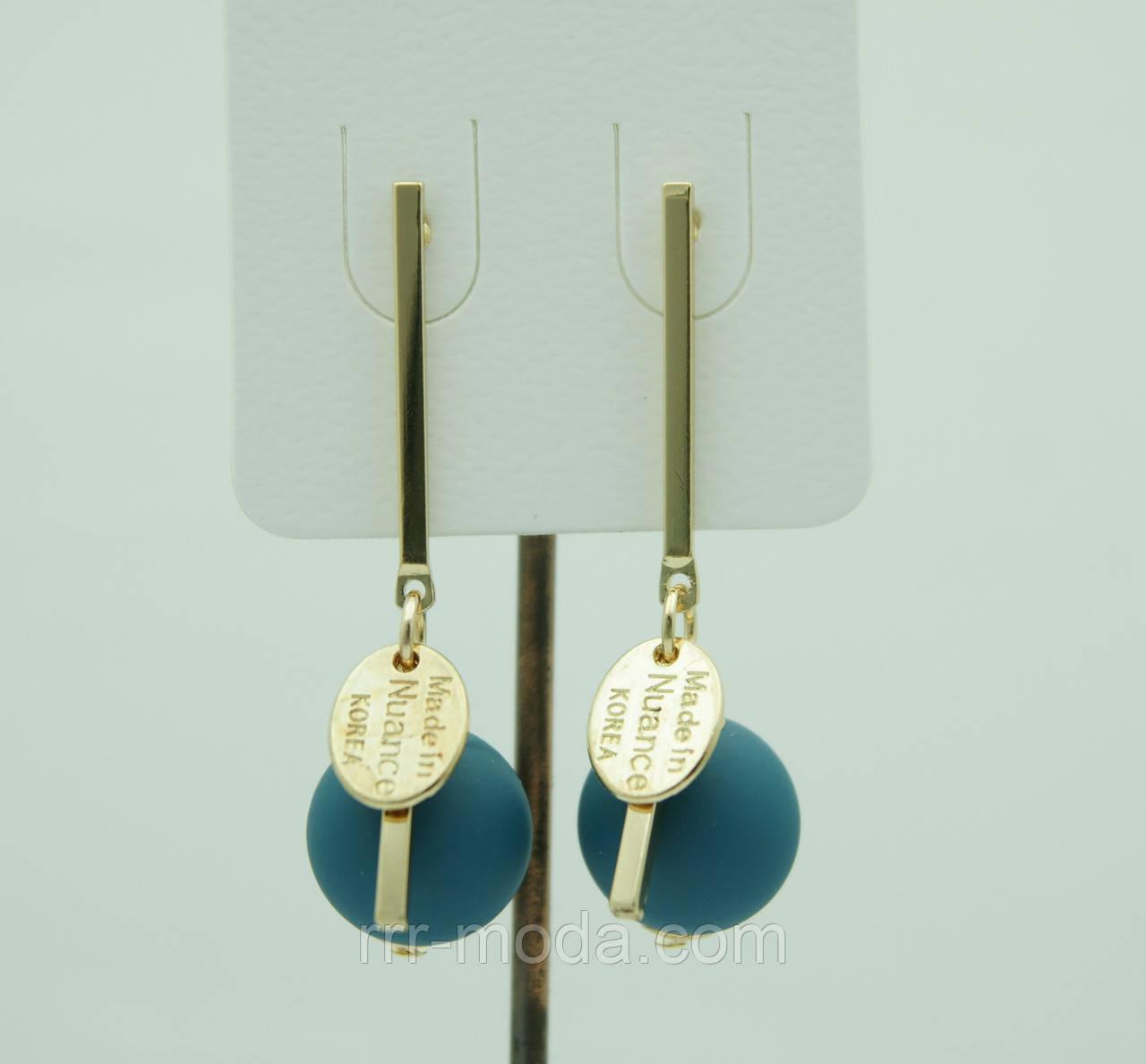 Украшения из KOREA, матовые сережки гвоздики с  шариками 3078
