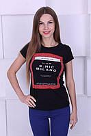 Женская футболка котон с камнями и надписью