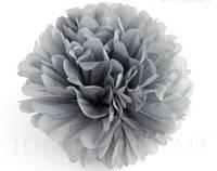 Купить бумажный помпон для оформления, 35 см. серый