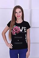 Женская футболка котон с цветком и надписью