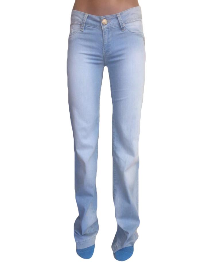 Женские джинсы 9923 клеш от бедра голубые