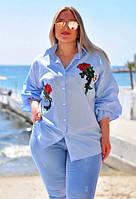 """Элегантная женская блуза-рубашка в больших размерах 055 """"Коттон Разлетайка Розы Вышивка"""" в расцветках"""