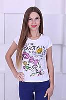 Женская котоновая футболка с цветочным принтом