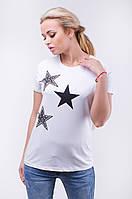 Женская футболка со стразами принт звезды