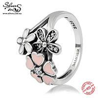 """Серебряное кольцо Пандора (Pandora) """"Цветочное настроение"""""""
