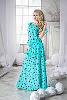 Красивое длинное шифоновое платье цвета изумруд