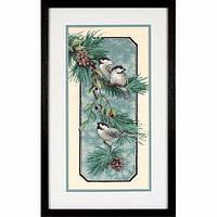 """03199 • Набор для вышивания крестом """"Птицы на ветке//Chickadees on a Branch"""" DIMENSIONS"""