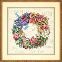 """35040 • Набор для вышивания крестом """"Венок всех времён года//Wreath of All Seasons"""" DIMENSIONS Gold Collection"""