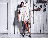 Стильное белое платье-рубашка oversize