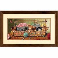 """35184 • Набор для вышивания крестом """"Котята в корзинке//Kitty Litter"""" DIMENSIONS Gold Collection"""