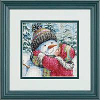 "70-08833 • Набор для вышивания крестом ""Поцелуй для снеговика//A Kiss for Snowman"" DIMENSIONS"