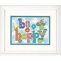 """70-65115 • Набор для вышивания крестом """"Будь счастлив//Be Happy"""" DIMENSIONS"""