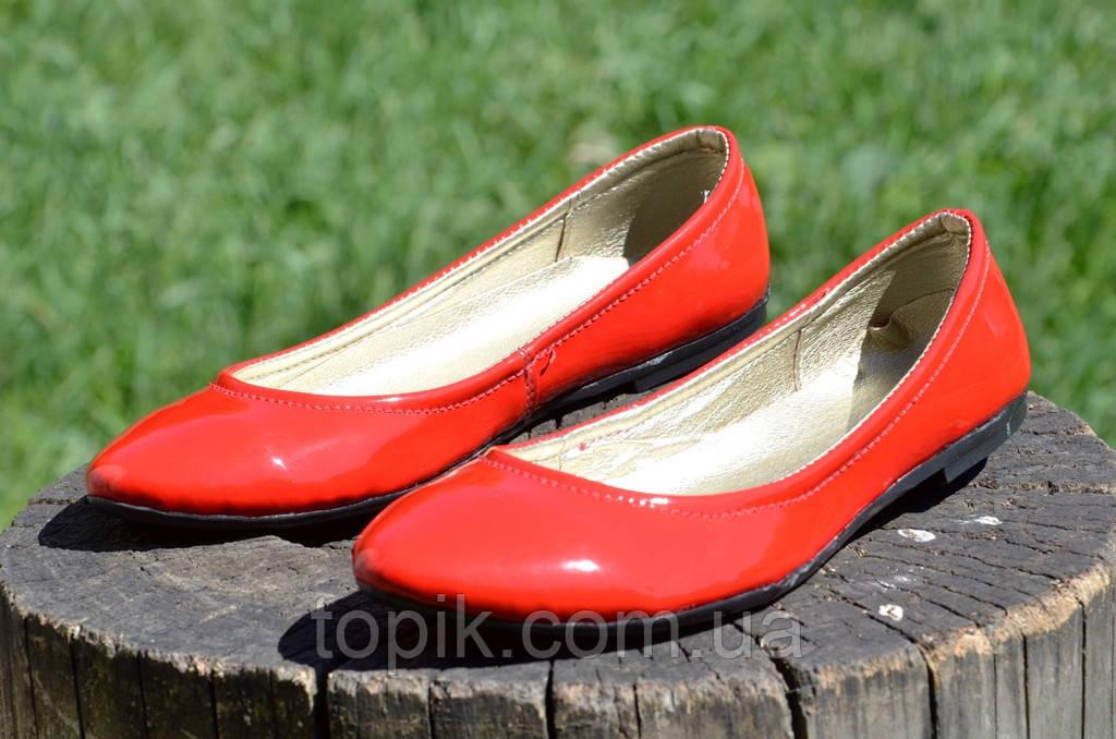 Балетки женские красные кожзам лак стильные практичные Львов (Код: 727)