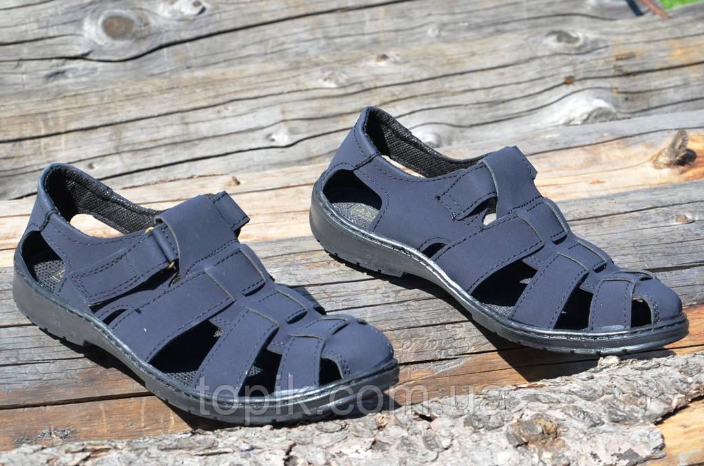 Босоножки, сандали мужские темно синие прошиты практичные искусственный нубук (Код: 731)
