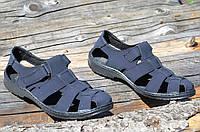 Босоножки, сандали мужские темно синие прошиты практичные искусственный нубук (Код: 731), фото 1