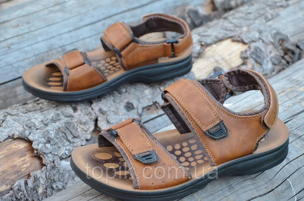 Босоножки, сандали мужские на липучках коричневые удобные практичные искусственная кожа (Код: 732)