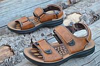Босоножки, сандали мужские на липучках коричневые удобные практичные искусственная кожа 2017