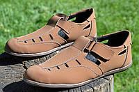 Босоножки, сандали мужские коричневые искусственный нубук на липучке 2017