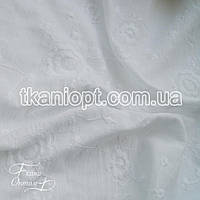 Ткань Батист вышивка (белый)
