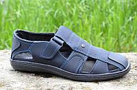 Мужские босоножки, сандали темно синие летние удобные прошиты Львов