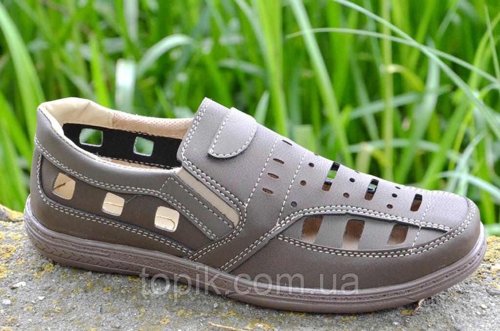 Мужские летние открытые туфли прошиты цвет капучино Львов практичные (Код: 699а)