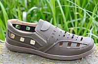Мужские летние открытые туфли прошиты цвет капучино Львов практичные