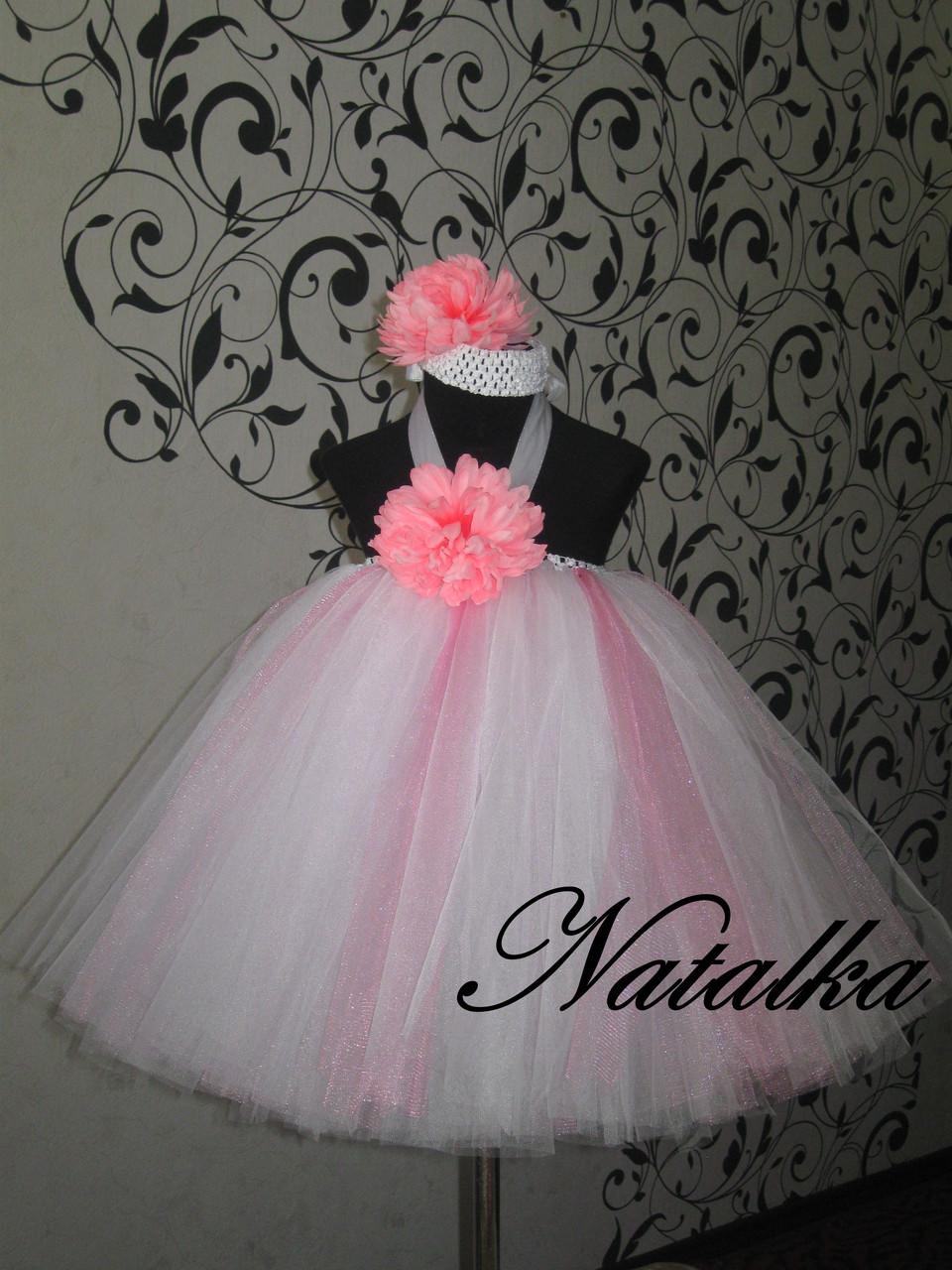 Платье ту-ту из фатина  с цветами