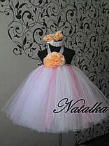 Платье ту-ту из фатина  с цветами, фото 3