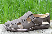 Мужские босоножки, сандали летние удобные прошиты цвет капучино Львов