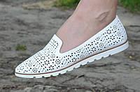 Балетки женские белые искусственная кожа сквозная перфорация удобные и легкие  40